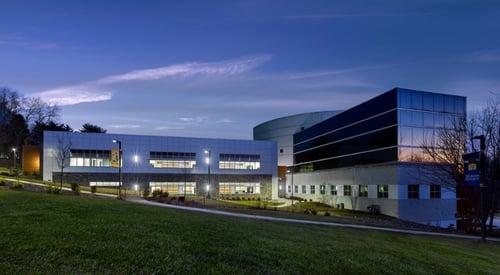 Neumann University campus at dusk